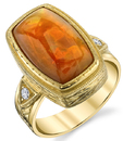 Fabulous Hand Made Bezel Set 3.71ct Opal 18 karat Yellow Gold Ring With Diamond Accents
