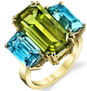 Colorful & Bright 3-Stone Ring With 10.41ct Emerald Peridot Centergem & Blue Zircon Baguettes
