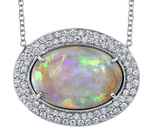 Fantastic 8.50ct Oval Lightening Ring Black Opal Gem Necklace With Double Diamond Accent Halo - 18kt White Gold