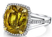Mesmerizing Rich Golden Greenish Genuine Sphene 9.8 carats Set in 18kt White Gold Ring With Diamond Halo Accents - Handmade