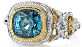 Incredible 3-Tone 18kt Gold Hand Made Detailed Ring With 7.47ct Cushion Blue Zircon & Diamond Accents