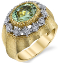 Italian Made 18kt 2-Tone 3.27ct Oval Mint Green Tourmaline Ring With Hand carved Detailing - Diamond Accents