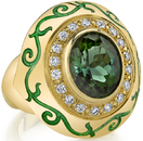 Amazing 7.88ct Oval Green Tourmaline Bezel Set Large Face Statement Ring in 18kt Yellow Gold - Diamond Accents & Leafy Detail