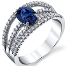 Fabulous 18kt White Gold 4-Band 1.56ct Oval Sapphire Diamond Accented Ring