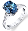 Lovely 5.70ct Teal Blue Sapphire Solitaire Ring in 18kt White Gold - Diamond Baguettes in Band