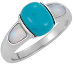 Chinese Turquoise and Opal Accented Ring