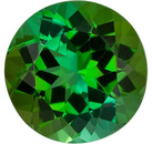 Enchanting Forest Green Tourmaline Genuine Gemstone from Brazil, Round Cut, 2.5 carats