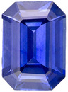 Hard to Find Sapphire Loose Gemstone in Emerald Cut, Vivid Blue, 7 x 5 mm, 1 carats