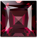 Stunning & Bright Rhodolite Loose Gem in Square Cut, Rich Raspberry Red, 8.6 mm 4.37 carats
