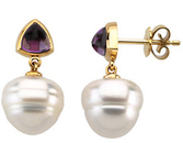 14KT White Gold 6m Amethyst & 11mm South Sea Cultured Pearl Earrings