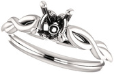 Twisted Band Solitaire Ring Mounting for Cushion Shape Centergem Sized 5.00 mm to 12.00 mm - Customize Metal, Accents or Gem Type