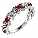 14 Karat White Gold Ruby & .025 Carat Total Weight Diamond Vintage-Inspired Scroll Ring