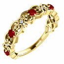 14 Karat Yellow Gold Ruby & .025 Carat Total Weight Diamond Vintage-Inspired Scroll Ring