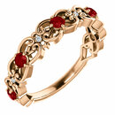 14 Karat Rose Gold Ruby & .025 Carat Total Weight Diamond Vintage-Inspired Scroll Ring