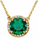 14 Karat Yellow Gold Chatham Created Emerald & .04 Carat Total Weight Diamond Necklace