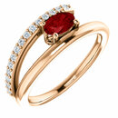 14 Karat Rose Gold Chatham Created Ruby & 1/8 Carat Total Weight Diamond Ring