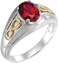 14 Karat White Gold & Yellow Chatham Created Ruby Infinity-Inspired Men's Ring