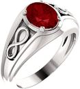 14 Karat White Gold Chatham Created Ruby Infinity-Inspired Men's Ring