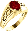 14 Karat Yellow Gold Chatham Created Ruby Infinity-Inspired Men's Ring