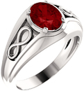Platinum Chatham Created Ruby Infinity-Inspired Men's Ring