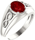 Sterling Silver Chatham Created Ruby Infinity-Inspired Men's Ring