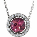Sterling Silver Pink Tourmaline and .05 Carat Total Weight Diamond Necklace