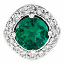 14 Karat White Gold Chatham Created Emerald & .08 Carat Total Weight Diamond Pendant