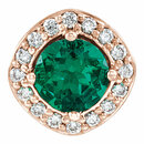 14 Karat Rose Gold Chatham Created Emerald & .08 Carat Total Weight Diamond Pendant
