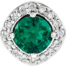 Platinum Chatham Created Emerald & .08 Carat Total Weight Diamond Pendant