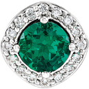 Sterling Silver Chatham Created Emerald & .08 Carat Total Weight Diamond Pendant
