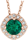 14 Karat Rose Gold Chatham Created Emerald & .08 Carat Total Weight Diamond Necklace