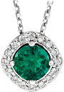 Platinum Chatham Created Emerald & .08 Carat Total Weight Diamond Necklace