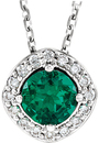 Sterling Silver Chatham Created Emerald & .08 Carat Total Weight Diamond Necklace