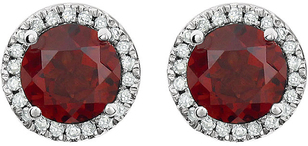 Beautiful 2.1ct 6mm Mozambique Garnet Birthstone Earrings With Halo Diamond Accents in 14k White Gold - 6mm Round Gem