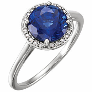 14KT White Gold Chatham Blue Sapphire & .05 Carat Total Weight Diamond Ring