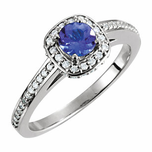 14KT White Gold Tanzanite & 1/3 Carat Total Weight Diamond Engagement Ring