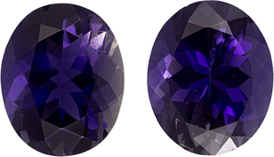 Beautiful Iolite Well Matched Pair in Oval Cut, Rich Violet, 11 x 9 mm, 6.15 carats