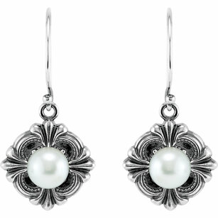 Sterling Silver 29.2x14.3mm Victorian Style Earring Mounting for Pearl