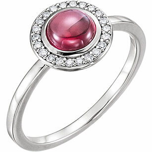 14KT White Gold Rhodolite & 1/8 Carat Total Weight Diamond Ring