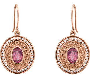Darling 1.7ct 7x5mm Oval Pink Tourmaline 14k Rose Gold Sculptural Inspired Dangle Earrings - Pave Diamond Frame