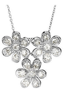 Exquisite 3-Flower 1.25 ct Moissanite 14k White Gold Pendant for SALE - 21 Glittering Created Moissanite Gems - FREE Chain Included With Pendant - SOLD