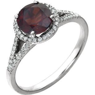 Dazzling 1.6ct 7mm Round Garnet January Birthstone Ring in 14k White Gold - Halo Accents & Split Pave Shank