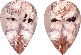 Rich Peach Morganites in Matched Pair in Pear Cut, 22.5 x 15.4 mm, 35.76 carats
