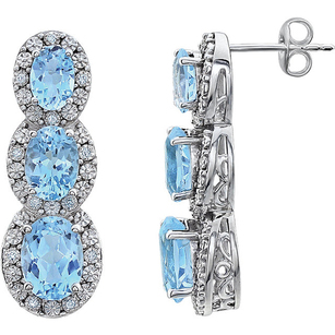 Alluring 14k White Gold Post Back Dangle Earrings With 4.72ct 3 Sky Blue Topaz Oval Gems & .07cts Diamond Accents