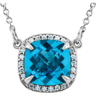 Unbelievable 2.8ct 8mm Checkerboard Antique Square Swiss Blue Topaz Pendant With Halo Diamond Accents - FREE Chain