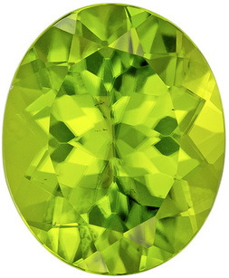 Low Price Peridot Loose Gem in Oval Cut, Rich Lime Green Color in 12.1 x 10 mm, 5.19 carats - SOLD