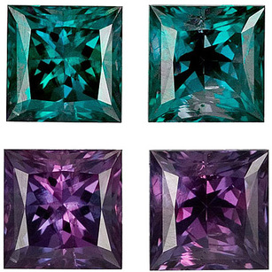 Very Rare in Incredible Fine GEM Alexandrites in Matched Pair Princess Cut, 1.73 carats total weight - SOLD
