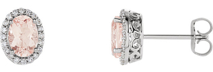 Chic 1.5ct 7x5mm Oval Morganite Halo Earrings in 14k White Gold - 1/5CTW Diamonds