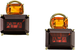 Spectacular Emerald Shape Citrine & Garnet Gemstone Earrings in 18kt Yellow Gold - Great Color Combo