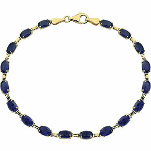 14KT Yellow Gold Created Blue Sapphire 7